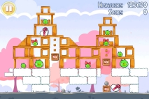 Angry Birds Seasons Hogs and Kisses уровень 14