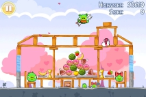 Angry Birds Seasons Hogs and Kisses уровень 2